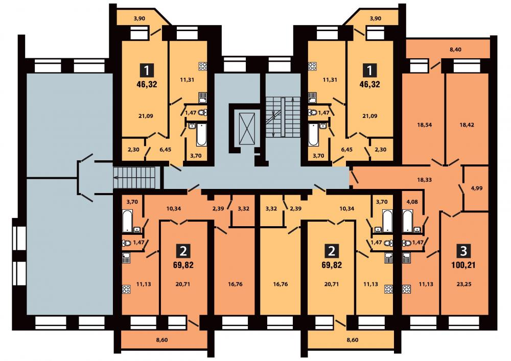 План 3 секция 3 этаж