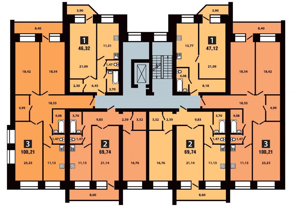 План 3 секция 4 этаж