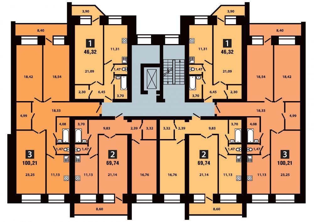План 3 секция 5-6 этаж