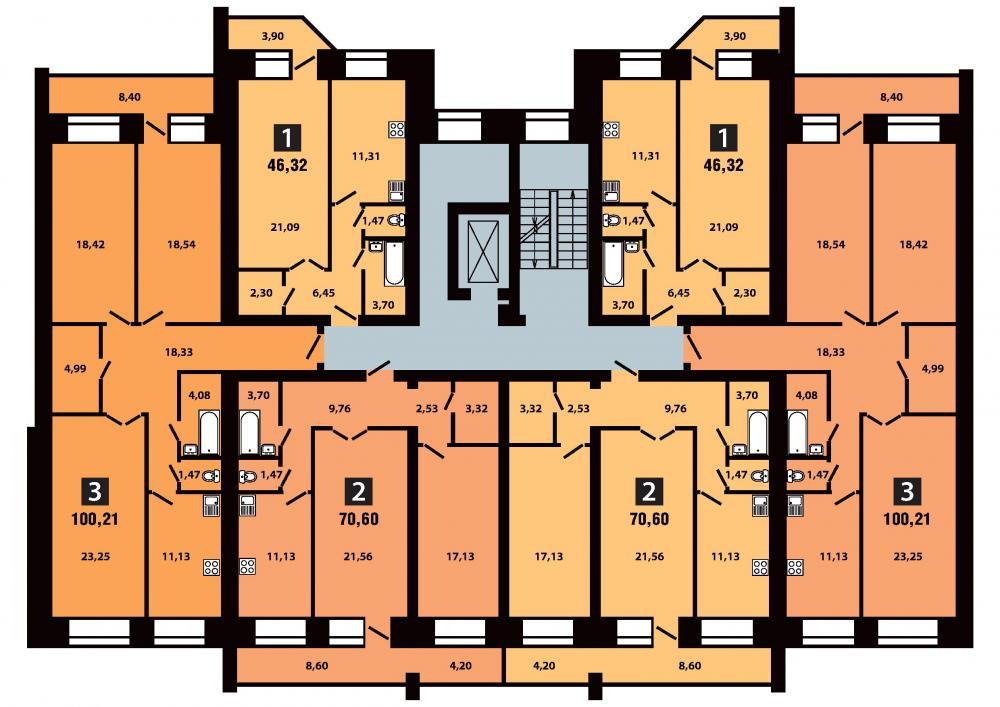 План 3 секция 7-8 этаж