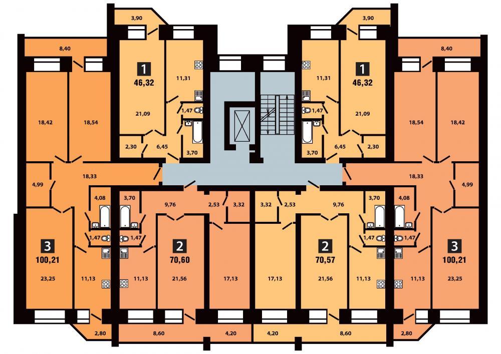 План 3 секция 9 этаж