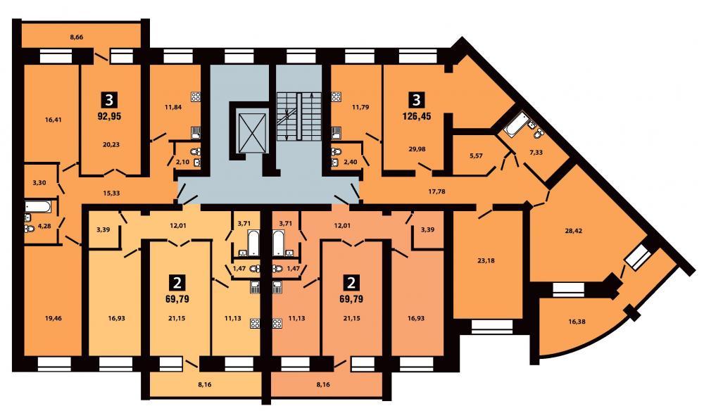 План 4 секция 3-5 этаж