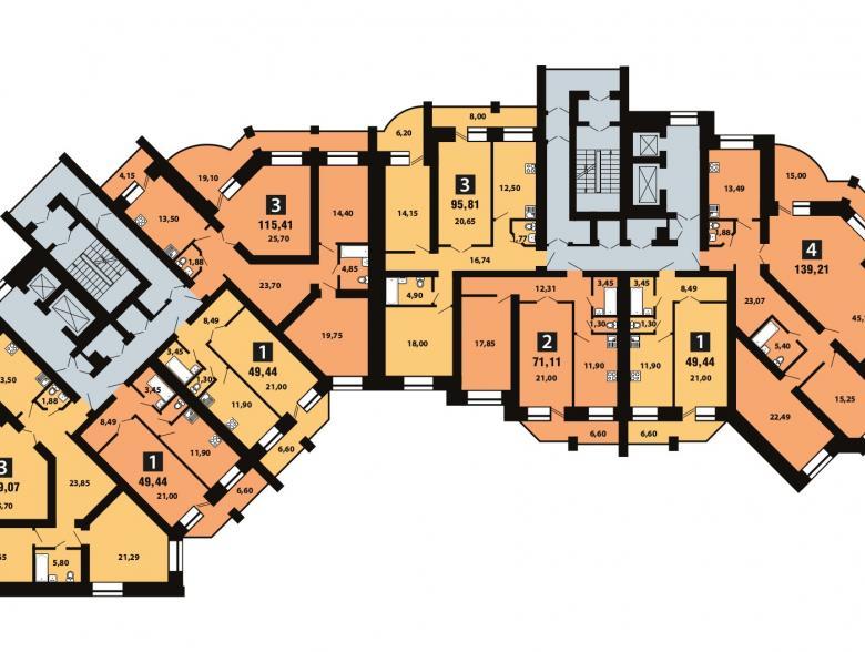 Планировка 10-го этажа - ул. Копылова, д. 19