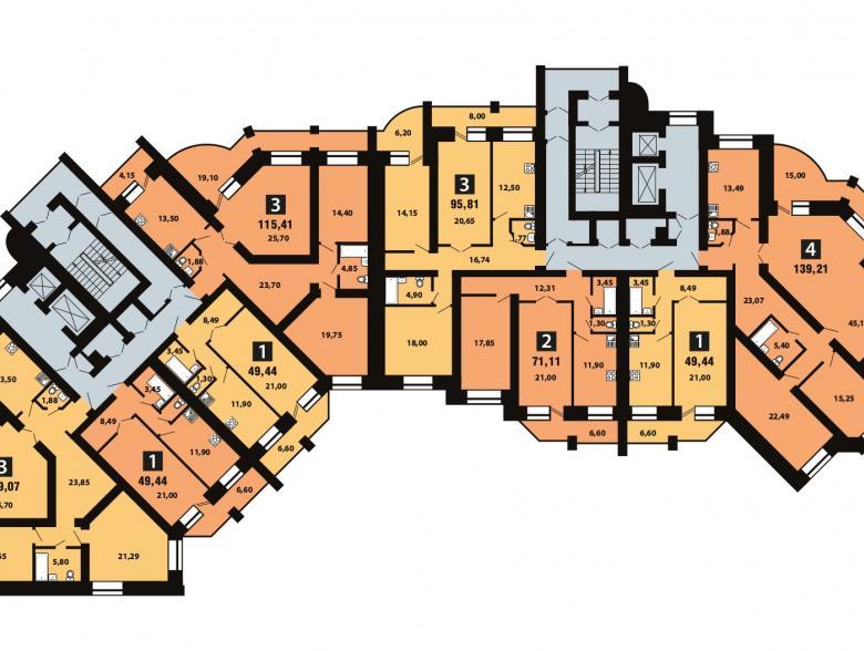 Планировка 11-го этажа - ул. Копылова, д. 5