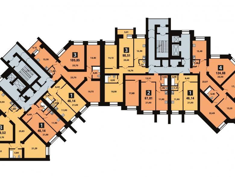 Планировка 4-го этажа - ул. Копылова, д. 5