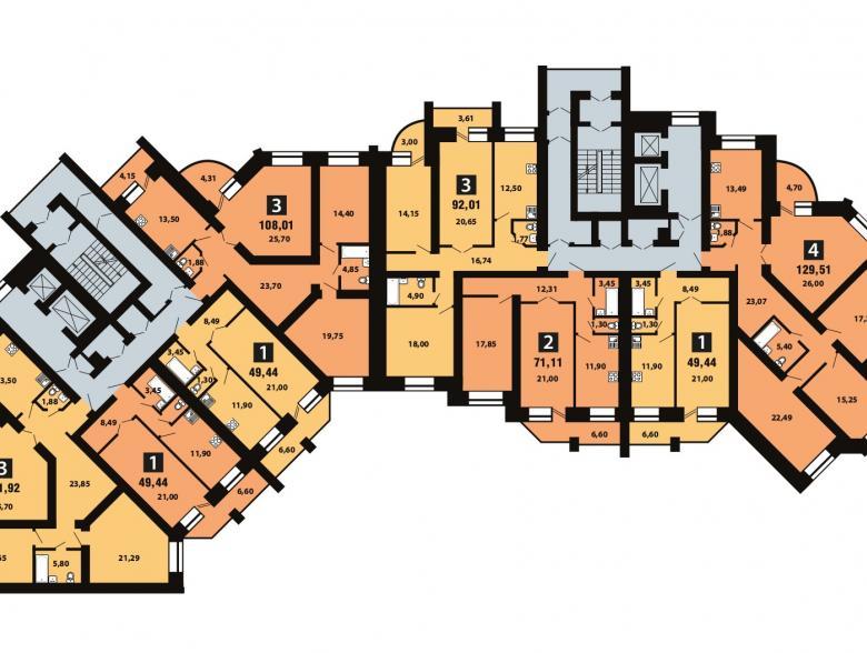 Планировка 6-го этажа - ул. Копылова, д. 19
