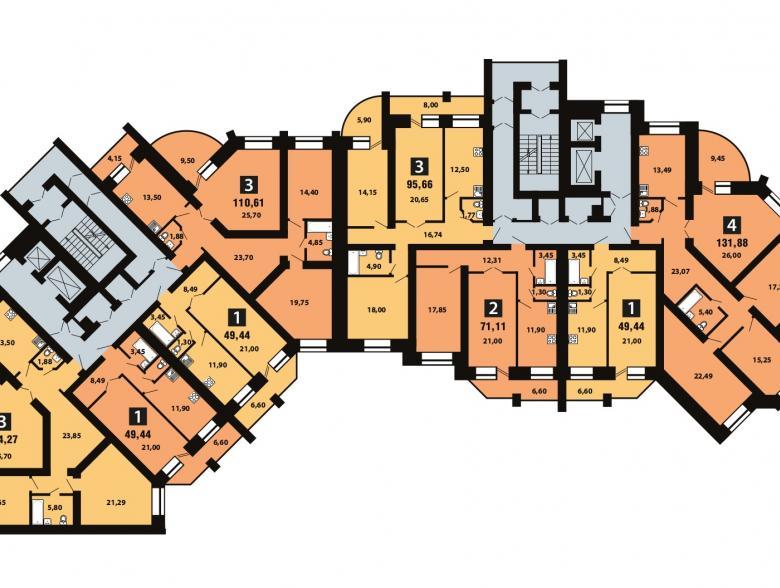 Планировка 8-го этажа - ул. Копылова, д. 19