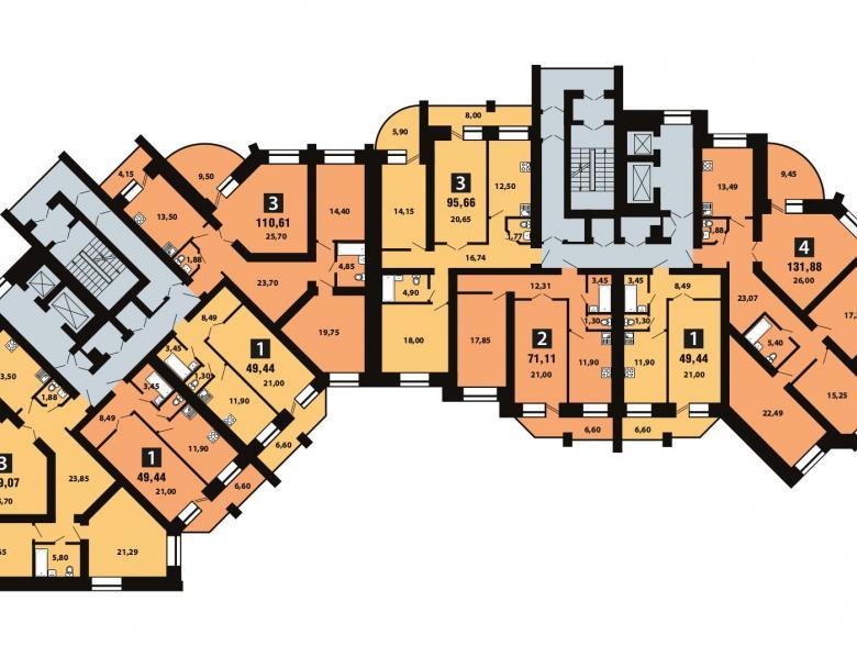Планировка 9-го этажа - ул. Копылова, д. 19